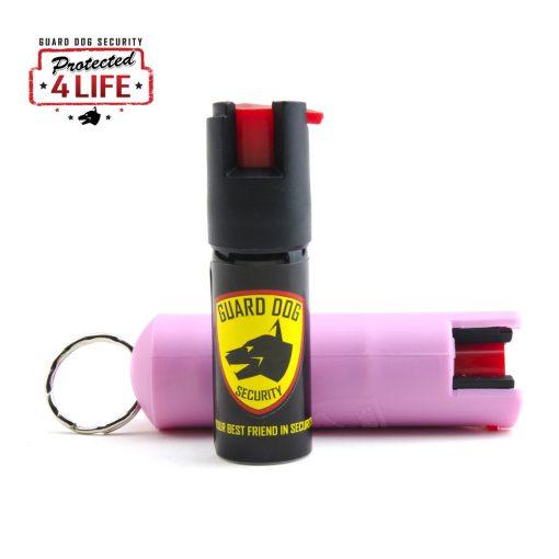 Guard Dog 1/2 Ounce 18% OC Hard Case Pepper Spray Keychain w/ Belt Clip pink