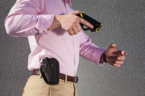 Taser Pulse Holster with Strap - in hand